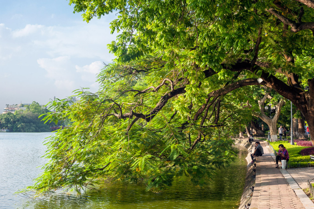 The park around Hoan Kiem Lake is a beautiful public space in the heart of Hanoi
