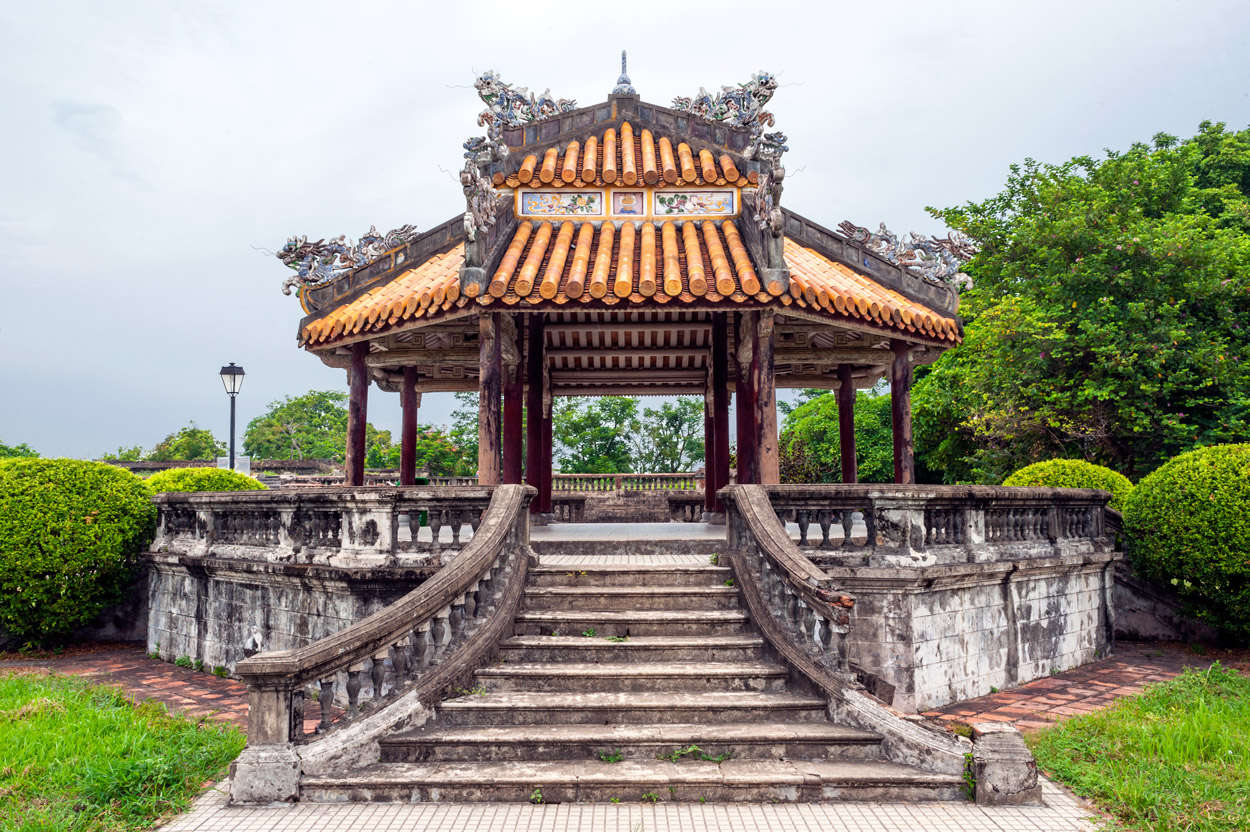 This pavilion is on the grounds of the Purple Forbidden City, the Nguyen Dynasty imperial residence, in Hue.