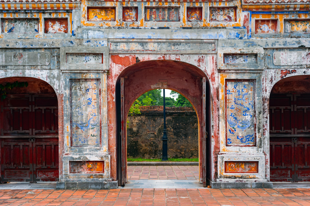Details from one of the gates inside the Imperial Citadel in Hue.