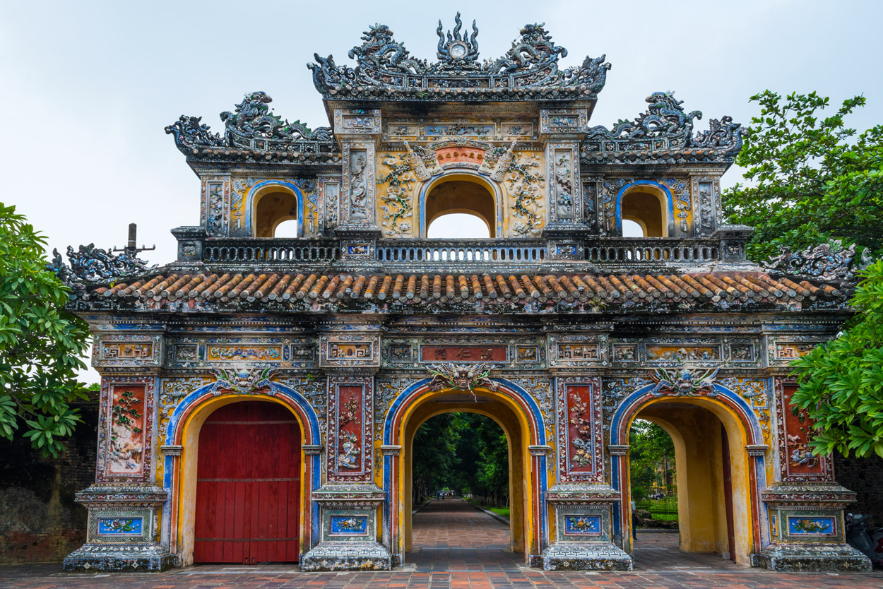 The Hiển Nhơn Gate is one of the entrances to the Purple Forbidden City, residence of Nguyen Dynasty emperors within the Imperial Citadel in Hue.