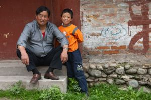 Tibetan Man and His Son