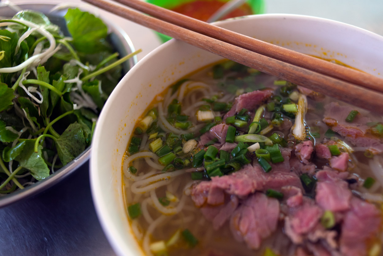 Beef noodle soup is a signature dish from Hue.