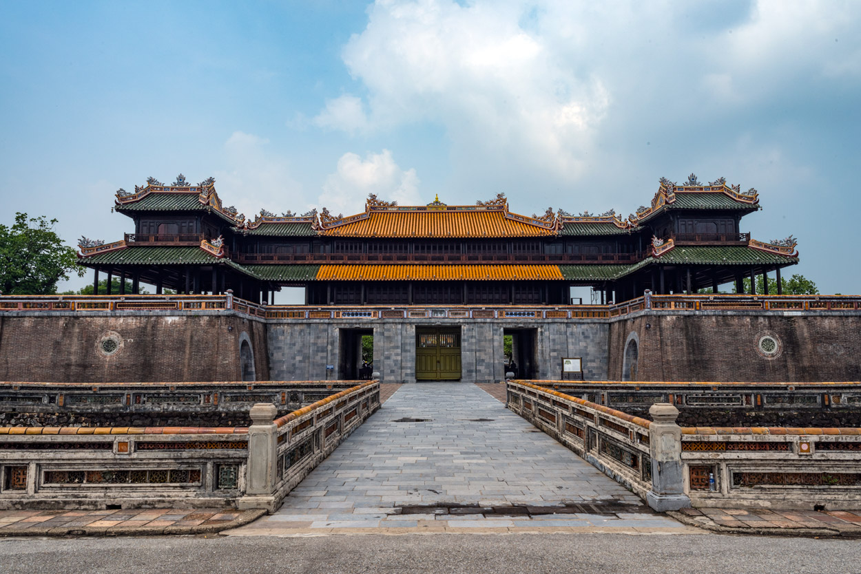 The Meridian Gate (Ngọ Môn) is the principal entrance to the Vietnamese Imperial Citadel in Hue.