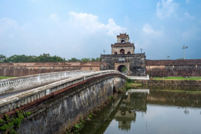 This gatehouse is part of the outer perimeter wall of the old Imperial City in Hue.