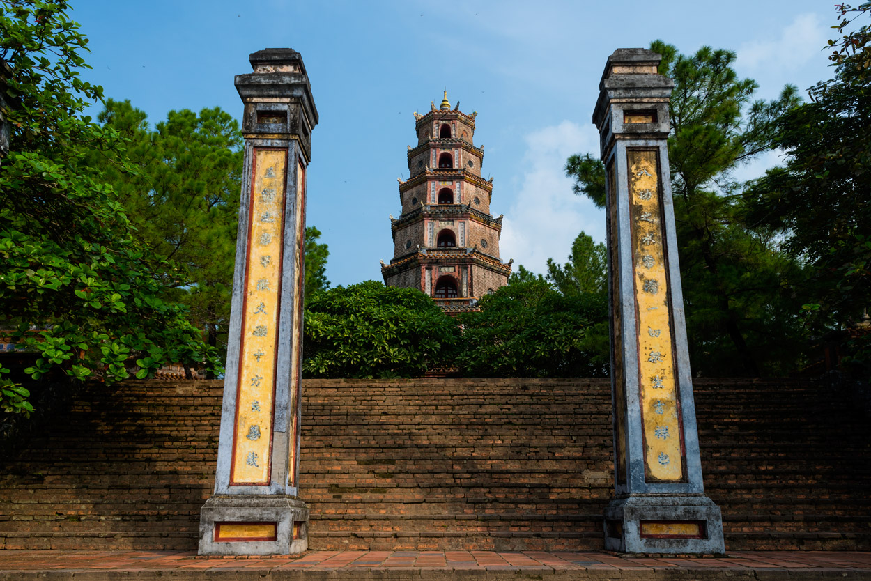 The Buddhist Thien Mu Pagoda, founded in 1601, sits on the banks of the Perfume River